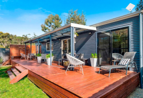 Three Beaches Tasmania accommodation sunny entertaining deck with contemporary outdoor furnishings